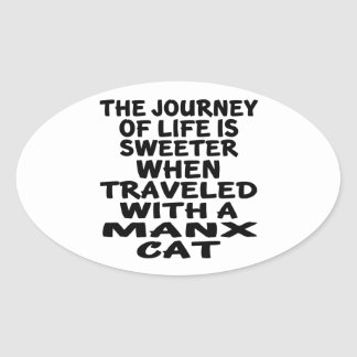 Traveled With Manx Cat Oval Sticker