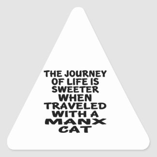 Traveled With Manx Cat Triangle Sticker