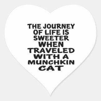 Traveled With Munchkin Cat Heart Sticker