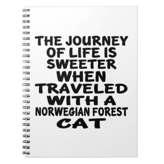 Traveled With Norwegian Forest Cat Cat Spiral Notebook