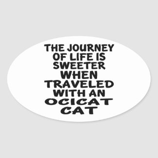 Traveled With Ocicat Cat Oval Sticker