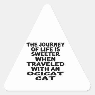 Traveled With Ocicat Cat Triangle Sticker