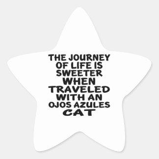 Traveled With Ojos Azules Cat Star Sticker