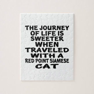 Traveled With Red point siamese Cat Jigsaw Puzzle