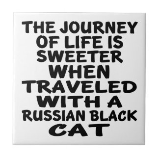 Traveled With Russian Black Cat Ceramic Tile