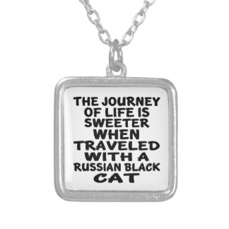 Traveled With Russian Black Cat Silver Plated Necklace