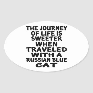 Traveled With Russian Blue Cat Oval Sticker