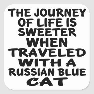 Traveled With Russian Blue Cat Square Sticker