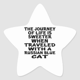 Traveled With Russian Blue Cat Star Sticker