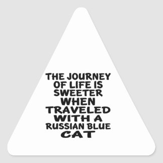 Traveled With Russian Blue Cat Triangle Sticker