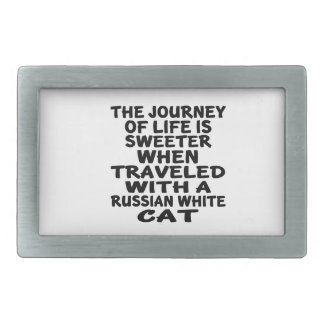 Traveled With Russian White Cat Rectangular Belt Buckles