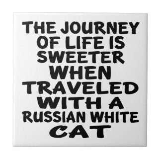 Traveled With Russian White Cat Tiles