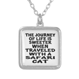Traveled With Safari Cat Silver Plated Necklace