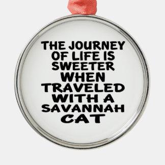 Traveled With Savannah Cat Metal Ornament