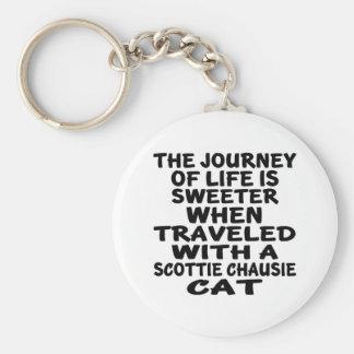 Traveled With Scottie chausie Cat Basic Round Button Keychain