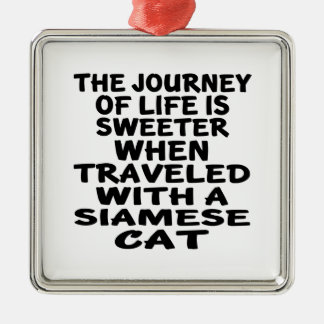 Traveled With Siamese Cat Metal Ornament