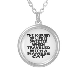 Traveled With Siamese Cat Silver Plated Necklace