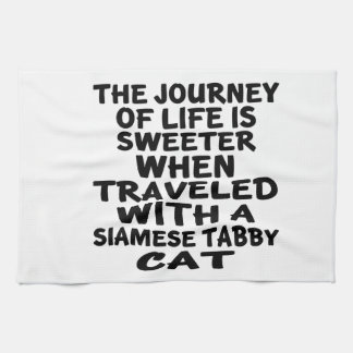 Traveled With Siamese tabby Cat Kitchen Towel