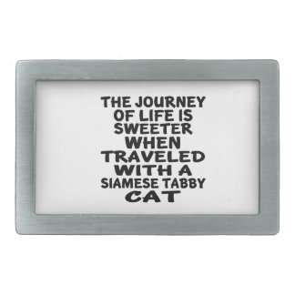 Traveled With Siamese tabby Cat Rectangular Belt Buckle