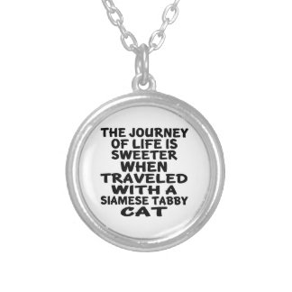 Traveled With Siamese tabby Cat Silver Plated Necklace