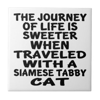 Traveled With Siamese tabby Cat Tile