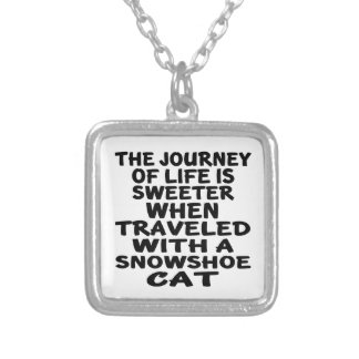 Traveled With Snowshoe Cat Silver Plated Necklace