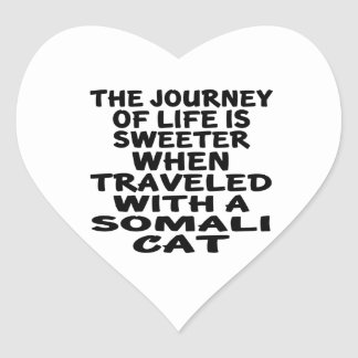 Traveled With Somali Cat Heart Sticker