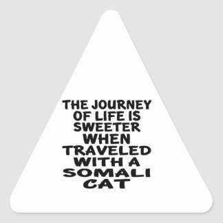 Traveled With Somali Cat Triangle Sticker