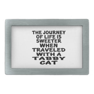 Traveled With Tabby Cat Rectangular Belt Buckles