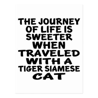 Traveled With Tiger siamese Cat Postcard