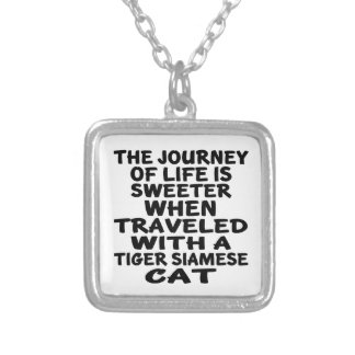 Traveled With Tiger siamese Cat Silver Plated Necklace
