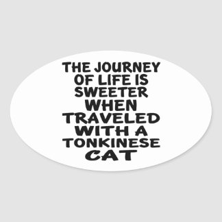 Traveled With Tonkinese Cat Oval Sticker