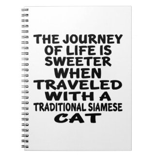 Traveled With Traditional Siamese Cat Spiral Notebook