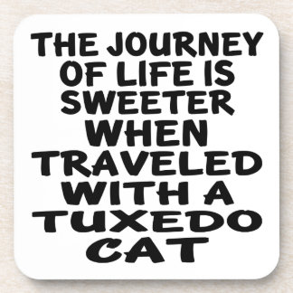 Traveled With Tuxedo Cat Coaster