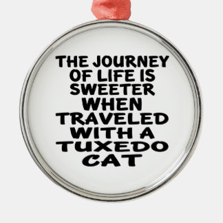 Traveled With Tuxedo Cat Metal Ornament