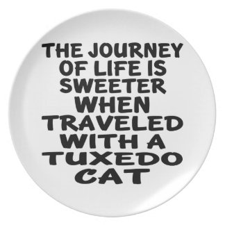 Traveled With Tuxedo Cat Plate
