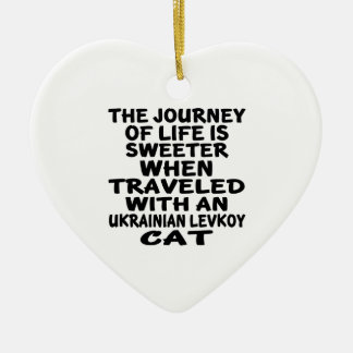 Traveled With Ukrainian Levkoy Cat Ceramic Ornament