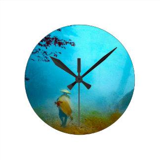 Traveler in the Japanese Fog in Old Japan Vintage Round Clock