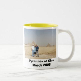 Travelers at Pyramids, Pyramids at Giza Two-Tone Coffee Mug