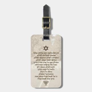 Traveler's Prayer on Hebrew Stylish Golden Text Luggage Tag