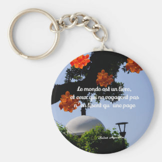Travelers read the book of the world basic round button keychain