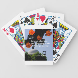 Travelers read the book of the world bicycle playing cards