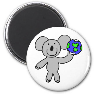 Traveling Koala 2 Inch Round Magnet
