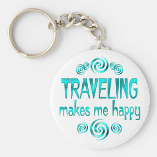 Traveling Makes Me Happy Basic Round Button Keychain