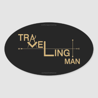 Traveling Man Oval Auto Sticker