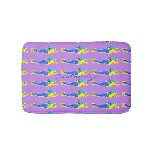 travelling blue-tail mermaids pattern bath mat