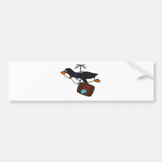 Travelling Flying Helicopter Penguin with Suitcase Bumper Sticker
