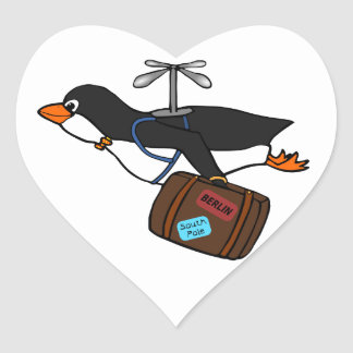 Travelling Flying Helicopter Penguin with Suitcase Heart Sticker