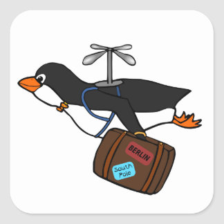 Travelling Flying Helicopter Penguin with Suitcase Square Sticker