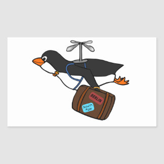 Travelling Flying Helicopter Penguin with Suitcase Sticker